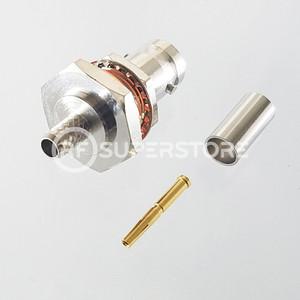 BNC Female Bulkhead Rear Mount Connector Crimp Attachment Coax RG55, RG58, Nickel Plating, Water Resistant