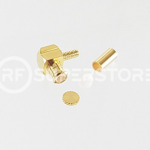 MCX Plug Right Angle Connector Crimp Attachment Coax RG178, RG196, 0.8D-2V, Gold Plating