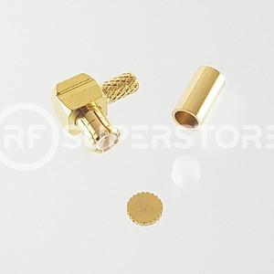 MCX Plug Right Angle Connector Crimp Attachment Coax RG174, RG188, RG316, Gold Plating