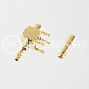MCX Jack Right Angle Connector Crimp Attachment PCB Through Hole, 1.13mm, 1.32mm, Gold Plating