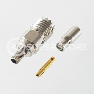 Mini UHF Female Connector Crimp Attachment Coax RG174, RG188, RG316, Nickel Plating