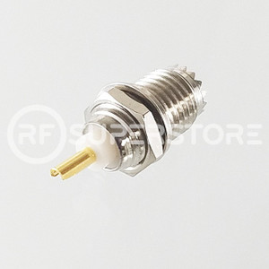 Mini UHF Female Bulkhead Front Mount Connector Solder Attachment Terminal, Nickel Plating