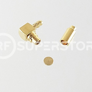 MMCX Plug Right Angle Connector Crimp Attachment Coax 1.13mm, 1.32mm, 1.37mm, Gold Plating