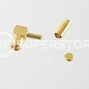 MMCX Jack Right Angle Connector Crimp Attachment Coax 1.13mm, 1.32mm, 1.37mm, Gold Plating