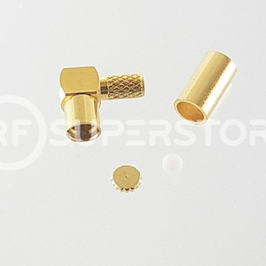 Reverse Polarity MMCX Jack Right Angle Connector Crimp Attachment Coax RG174, RG188, RG316, Gold Plating