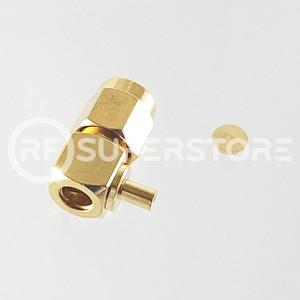 Reverse Polarity SMA Male Right Angle Connector Crimp Attachment Coax 1.13mm, 1.32mm, 1.37mm, Gold Plating