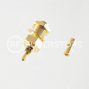 Reverse Polarity SMA Female Bulkhead Rear Mount Connector Crimp Attachment Coax 1.13mm, 1.32mm, 1.37mm, Gold Plating