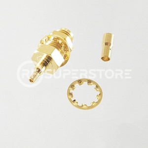 Reverse Polarity SMA Female Bulkhead Rear Mount Connector Crimp Attachment Coax RG178, RG196, 0.8D-2V, Gold Plating