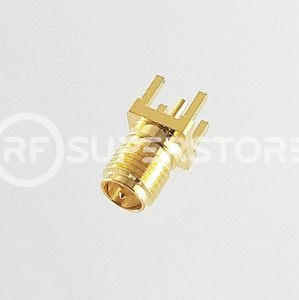 Reverse Polarity SMA Female Connector Solder Attachment PCB Through Hole, Gold Plating