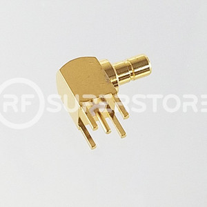 SMB Jack Right Angle Connector Solder Attachment PCB Through Hole, Gold Plating