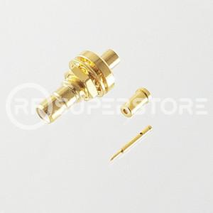 SMB Jack Bulkhead Rear Mount Connector Crimp Attachment Coax 1.13mm, 1.32mm, 1.37mm, Gold Plating