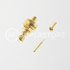 SMC Jack Bulkhead Rear Mount Connector Crimp Attachment Coax RG178, RG196, 0.8D-2V, Gold Plating