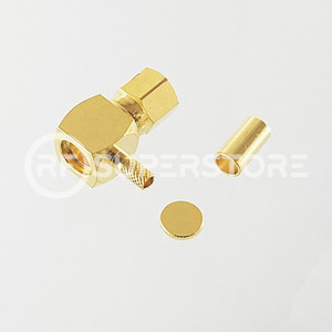 SMC Plug Right Angle Connector Crimp Attachment Coax RG174, RG188, RG316, Gold Plating