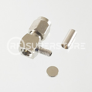 SSMA Male Right Angle Connector Crimp Attachment Coax RG174, RG188, RG316, Nickel Plating