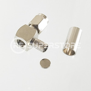 SSMA Male Right Angle Connector Crimp Attachment Coax RG55, RG58, RG55A, Nickel Plating