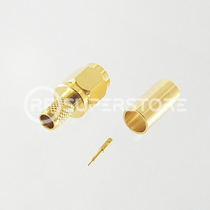 SSMA Male Connector Crimp Attachment Coax RG55A, RG58A, RG58C, Gold Plating