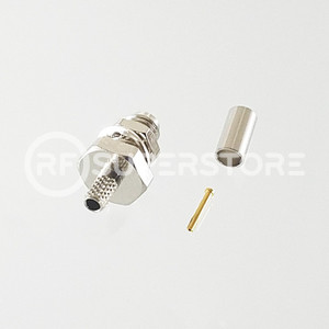 SSMA Female Bulkhead Rear Mount Connector Crimp Attachment Coax RG174, RG188, RG316, Nickel Plating