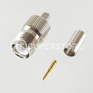 Reverse Polarity TNC Female Connector Crimp Attachment Coax RG55A, RG58A, RG58C, Nickel Plating