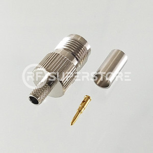 Reverse Polarity TNC Female Connector Crimp Attachment Coax RG55, RG58, Nickel Plating