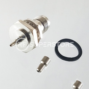 Reverse Polarity TNC Female Bulkhead Rear Mount Connector Crimp Attachment Coax 1.13mm, 1.32mm, 1.37mm, Nickel Plating, Water Resistant