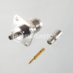 Reverse Polarity TNC Female Panel Mount 4-hole Connector Crimp Attachment Coax RG174, RG188, RG316, Nickel Plating