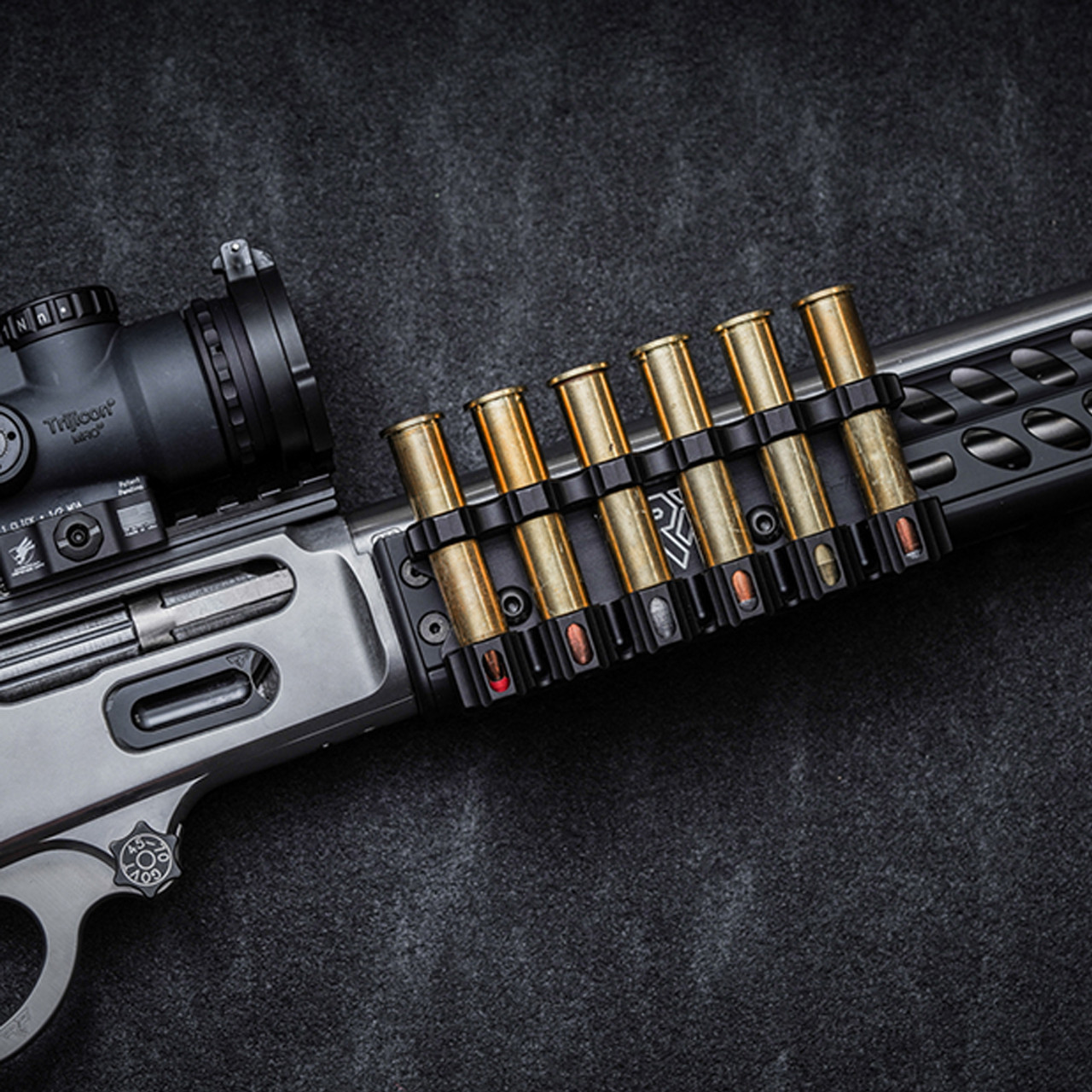 Ranger Point Precision M-LOK 45-70 Cartridge Quiver holds six cartridges to complement our popular M-LOK forearm rails for Marlin, Henry, and Rossi lever-action rifles (will also work with any M-LOK rail on the market).
