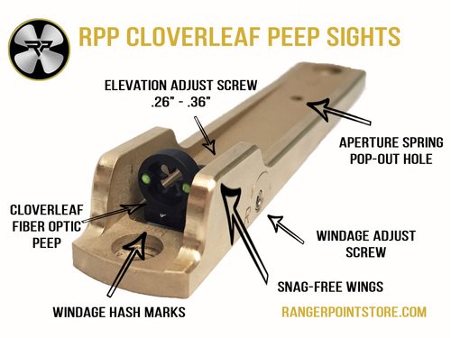 Brass Fiber Optic Cloverleaf Peep Sight Features, RPP Peep Sights