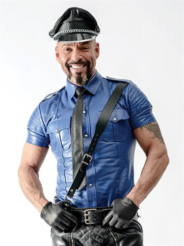 Mister B Sheep Leather Police Shirt Blue