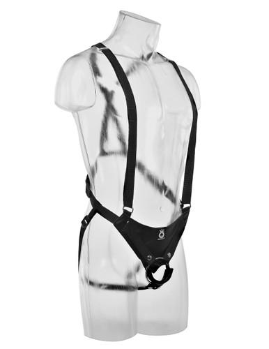 "King Cock 12"" Hollow Strap-On Suspender System - Black"