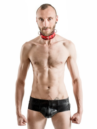 Mister B Rubber Collar Lockable Red & Black