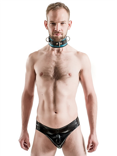 Mister B Rubber Collar Lockable Blue & Black
