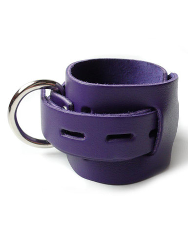 Purple Leather Wrist Cuffs with Locking Buckle
