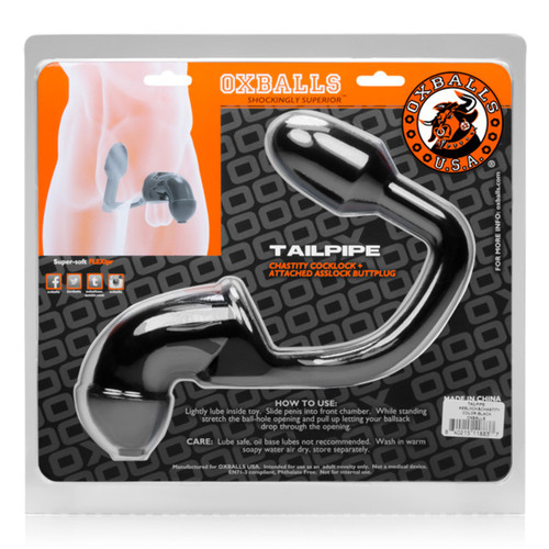 Tailpipe Chastity Cock-lock and Buttplug - Black