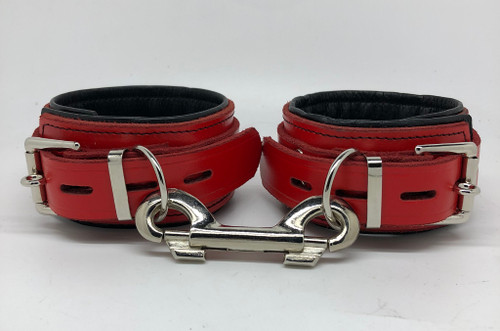 Deluxe Lockable Ankle Restraints - Red & Black