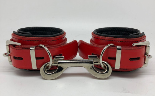 Deluxe Lockable Wrist Restraints - Red & Black