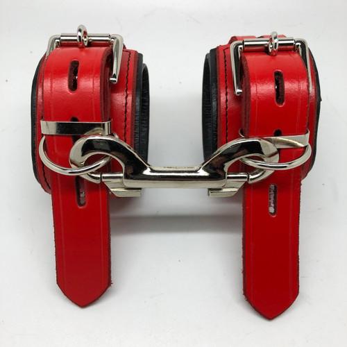 Deluxe Lockable Wrist Restraints - Red & Black