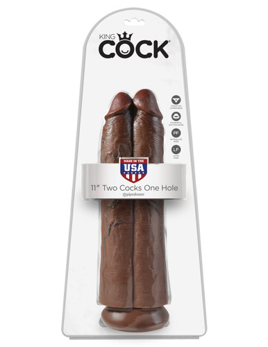 """King Cock 11"""" Two Cocks One Hole - Brown"""