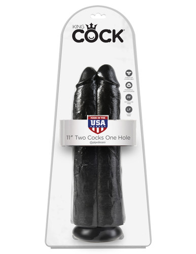 "King Cock 11"" Two Cocks One Hole - Black"