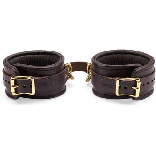 Coco de Mer Leather Ankle Cuffs Brown