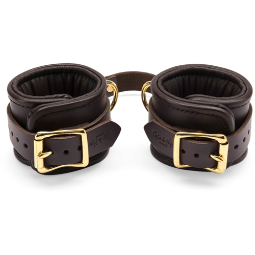 Coco de Mer Leather Wrist Cuffs L/XL Brown