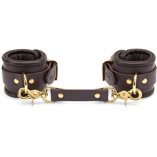 Coco de Mer Leather Wrist Cuffs S/M Brown