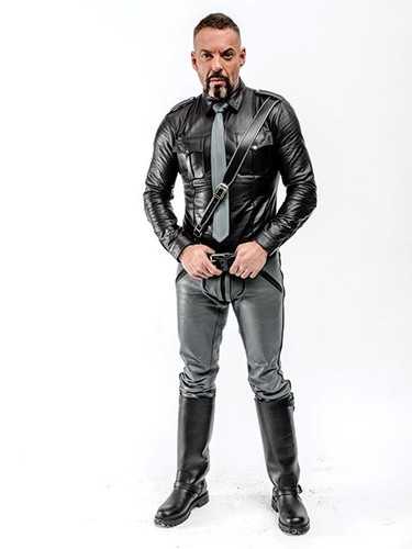 Mister B Leather FXXXer Jeans Grey with Black Piping
