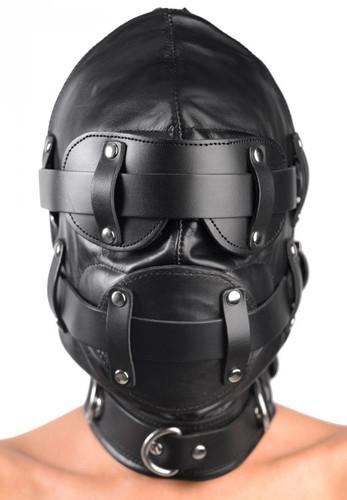Total Lockdown Leather Hood - Small / Medium