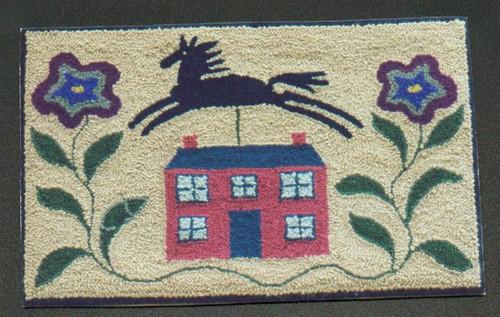 Punch hooked using wool rug yarn, size 9 regular Oxford punch needle. Angela Jones