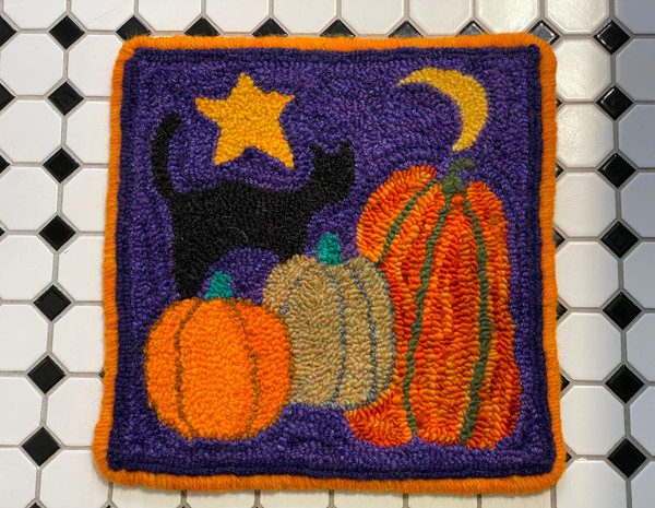 Punch hooked by Kathy Donovan, Bluemont Virginia Hand dyed Checkmate Wool Rug Yarn