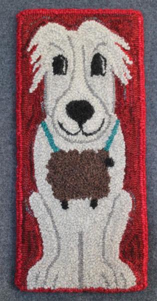 Punch hooked by Angela Jones.  Wool strips and wool yarn.
