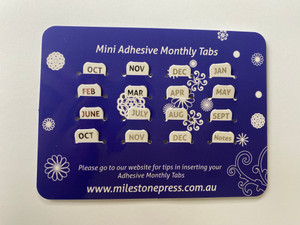 Mini Monthly Adhesive Tabs - White with Silver Months