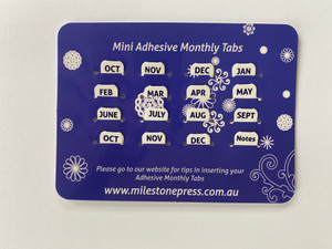 Mini Monthly Adhesive Tabs - White with Navy Months