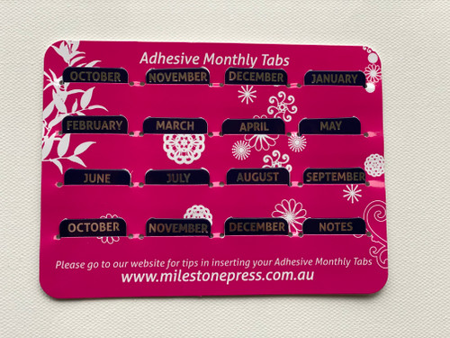 Monthly Adhesive Tabs - Navy with Silver Months
