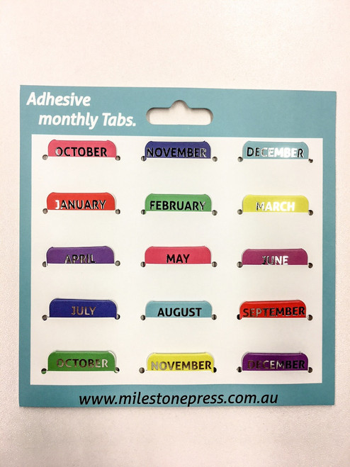 Monthly Adhesive Tabs - Colours with Silver Months